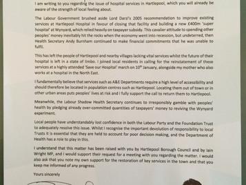 Letter to Jeremy Hunt re hospital