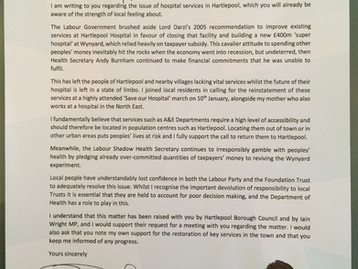 Letter to Jeremy Hunt re hospital