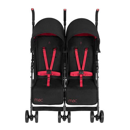 Maclaren T-01 Twin Stroller - Black/Redstone