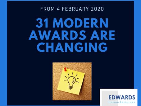 31 Modern Awards Changing in 2020