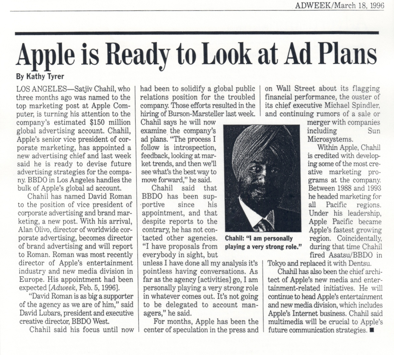 (1996) ADWEEK Apple Ad Plans