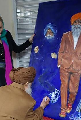 Fauja Singh marathon runner signing his portrait by Veramaria Sports Artist