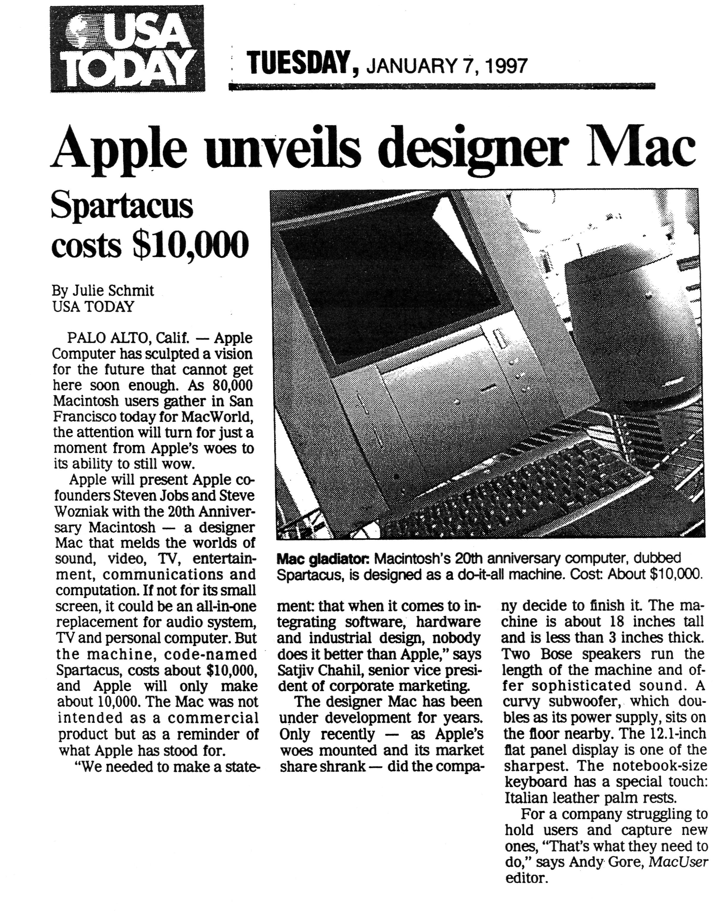 (1997) USA Today _Apple unveils mac designer_