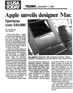 (1997) USA Today _Apple unveils mac designer_