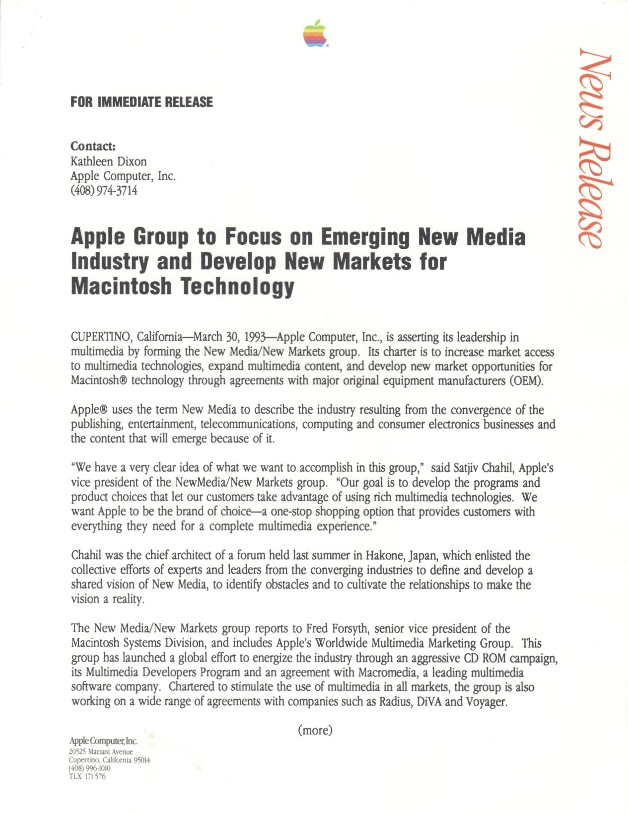 Apple Press Release