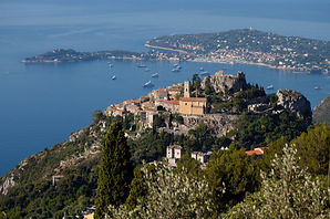 Aerial view of Eze Village near Villa Panorama on the French Rivieria