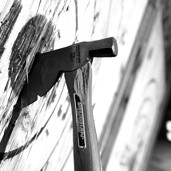 Wooden axe in bullseye at Skeggy's Axe House in Easton, PA