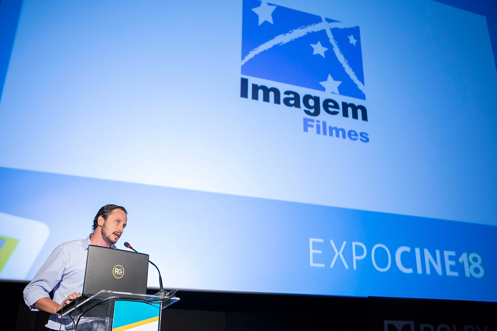 O diretor de vendas Gustavo Romboli na apresentação da Imagem Filmes na Expocine18 | Foto: Divulgação (Expocine)
