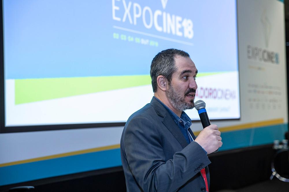 Christian de Castro, presidente da Ancine, no Encontro AExib na Expocine18   Foto: Divulgação