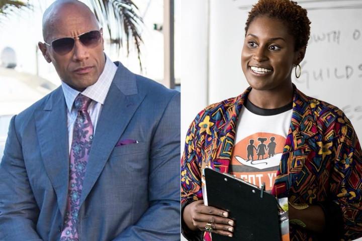 Dwayne Johnson em cena da série Ballers (2015-) e Issa Rae em Insecure (2016-) | Foto: Divulgação (HBO)
