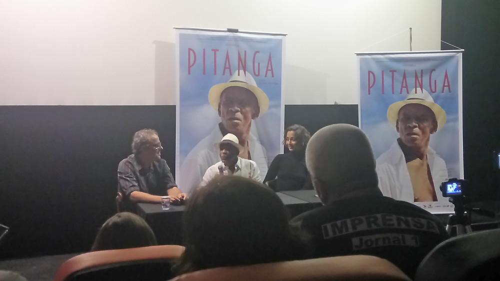 Beto Brant, Antonio Pitanga e Camila Pitanga na coletiva de imprensa do documentário Pitanga (2017) | Foto: Nayara Reynaud