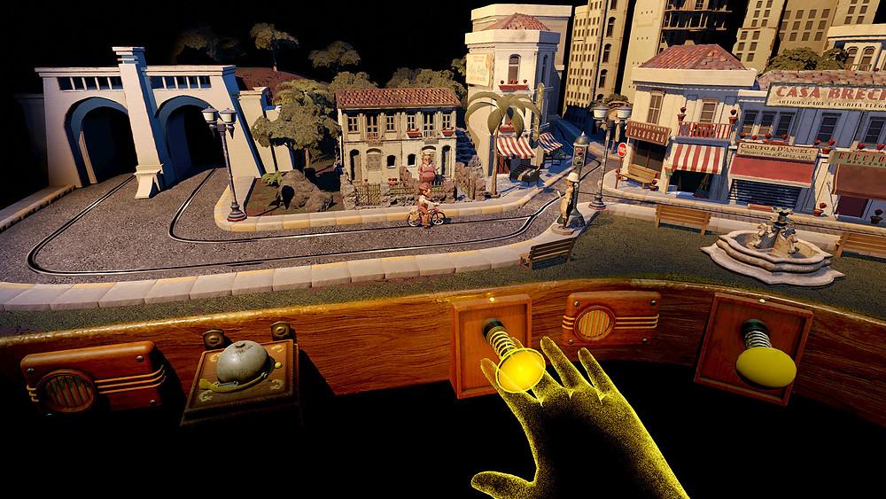 Cena do curta brasileiro em realidade virtual A Linha (2019), de Ricardo Laganaro, premiado com o Emmy de Melhor Inovação em Mídia Interativa | Foto: Divulgação (Estúdio ARVORE)