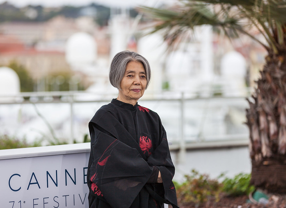 Foto da atriz japonesa Kirin Kiki no Festival de Cannes