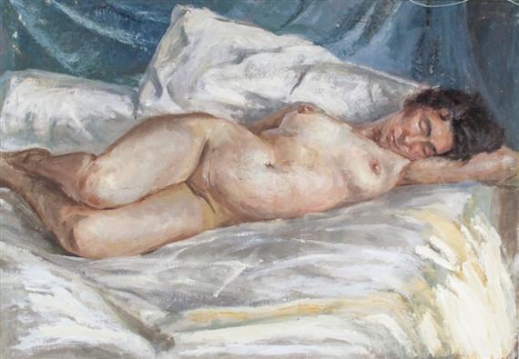 A female nude, pintura de Lucian Freud
