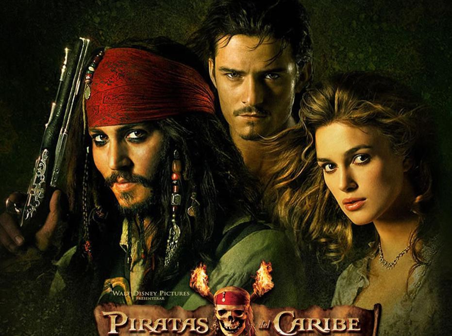Johnny Depp, Orlando Bloom e Keira Knightley na foto de divulgação de Piratas do Caribe: A Maldição do Pérola Negra (Pirates of the Caribbean: The Curse of the Black Pearl, 2003) | Foto: Divulgação