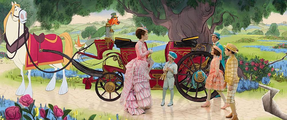 Emily Blunt, Joel Dawson, Pixie Davies, Lin-Manuel Miranda e Nathaniel Saleh em cena de O Retorno de Mary Poppins (2018) | Foto: Divulgação
