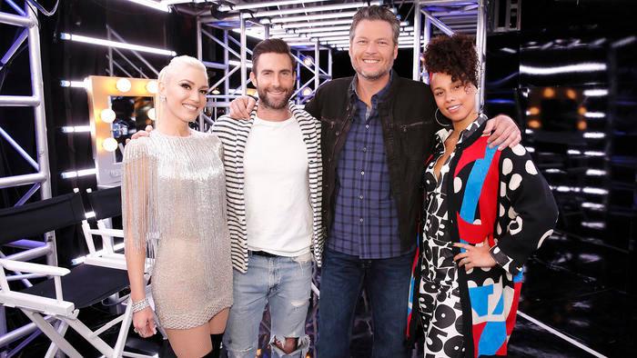 Gwen Stefani, Adam Levine, Blake Shelton e Alicia Keys na 12ª temporada do The Voice (2011-) | Foto: Divulgação