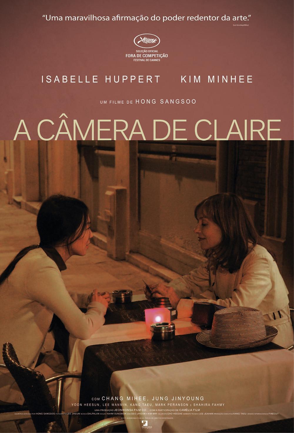 Cartaz do filme A Câmera de Claire (2017), de Hong Song-Soo | Divulgação (Pandora Filmes)
