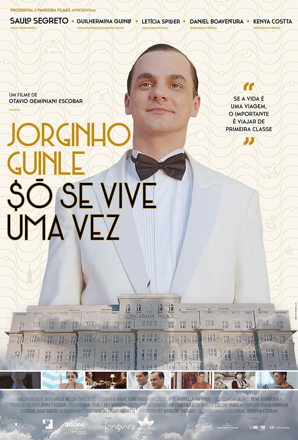 Cartaz do docudrama Jorginho Guinle – $Ó Se Vive Uma Vez (2018) | Divulgação