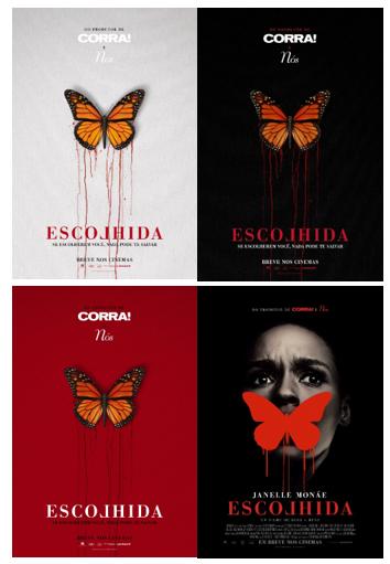 Conjunto dos cartazes nacionais do terror Escolhida (Antebellum, 2020) | Divulgação (Paris Filmes)