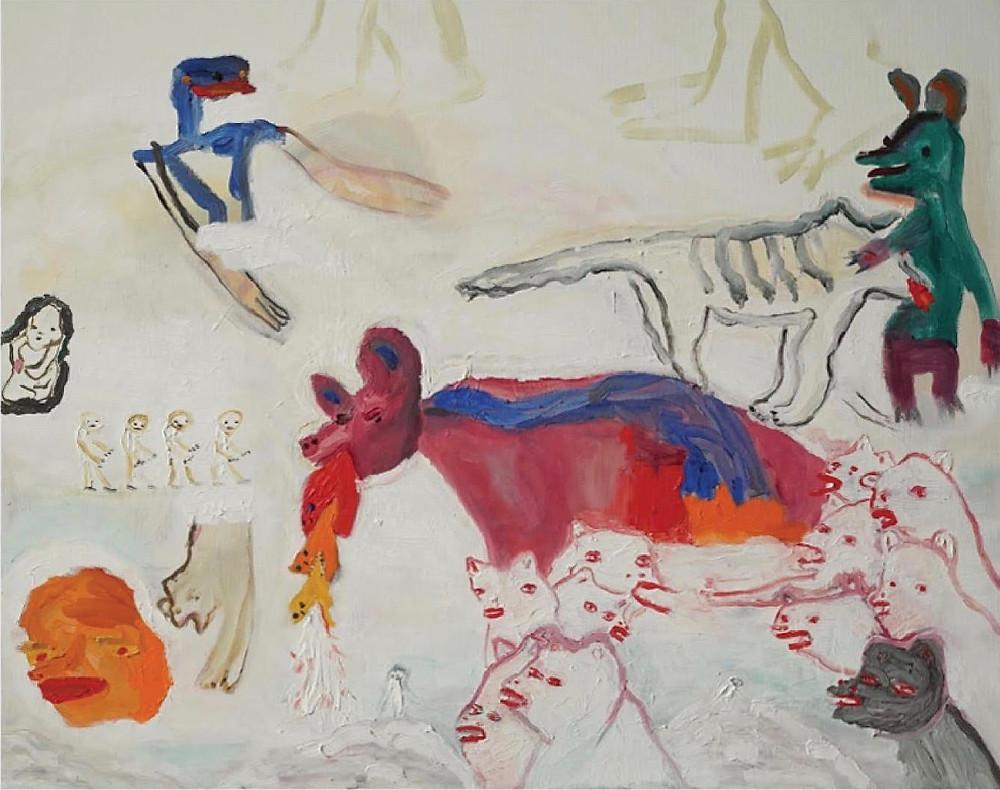 Pintura de Maira Senise, em imagem de divulgação do curta-metragem brasileiro Ópera dos Cachorros (2020), filme experimental de Paula Gaitán | Foto: Divulgação (Mostra Tiradentes)