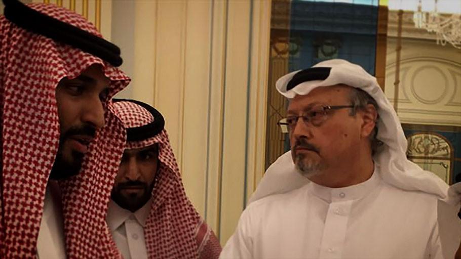 O príncipe saudita Mohammad bin Salman e o jornalista compatriota Jamal Khashoggi em cena do documentário O Dissidente (The Dissident, 2020), do norte-americano Bryan Fogel | Foto: Divulgação