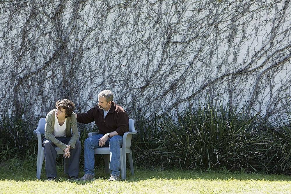 Timothée Chalamet e Steve Carell em cena do drama Querido Menino (2018) | Foto: Divulgação (Diamond Films)