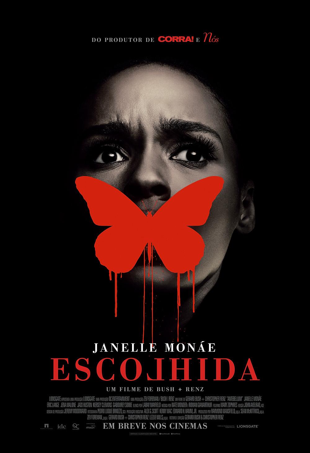 Cartaz nacional de Escolhida (Antebellum, 2020), terror de Gerard Bush e Christopher Renz, estrelado por Janelle Monáe | Divulgação (Paris Filmes)