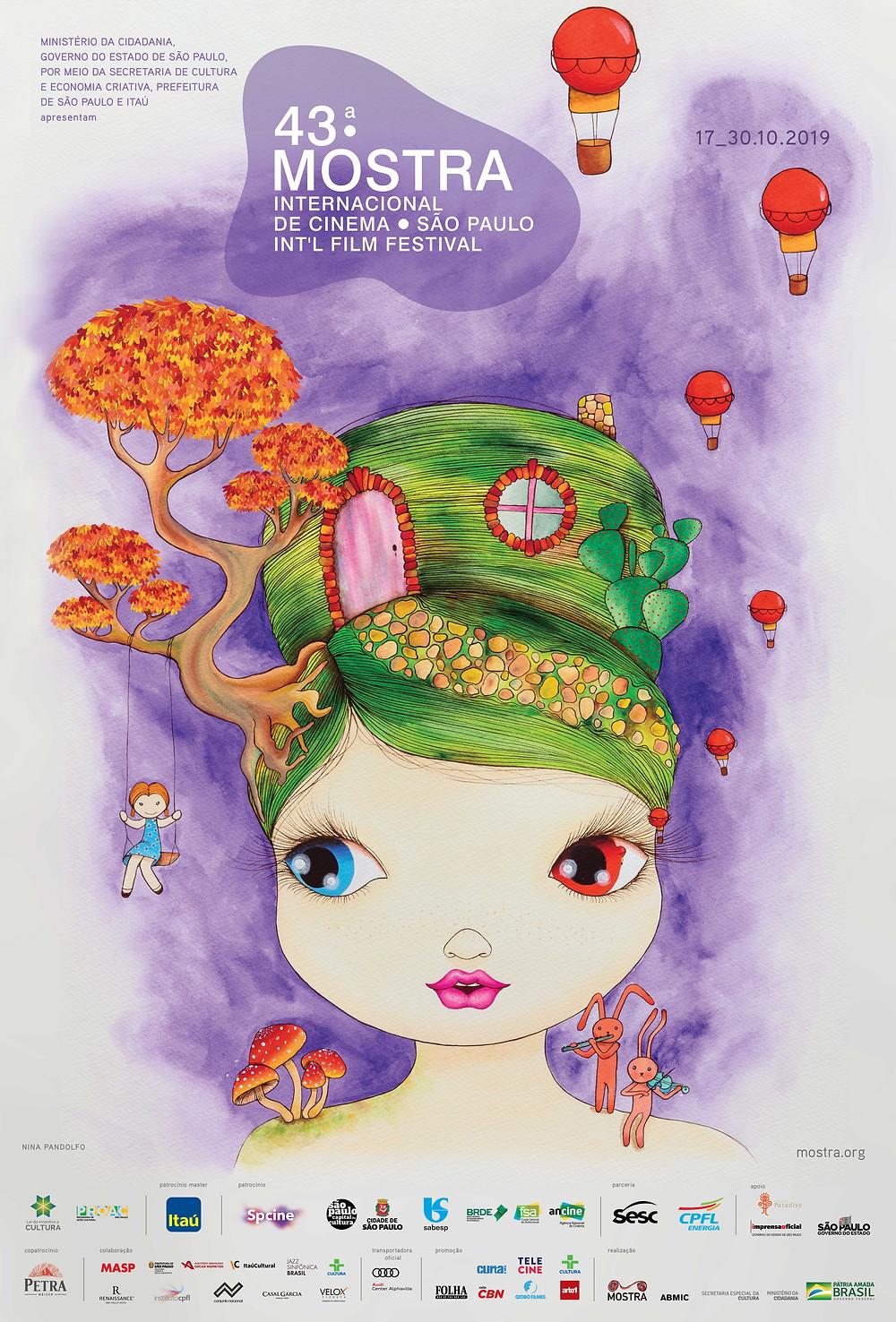 Pôster da 43ª Mostra Internacional de Cinema em São Paulo, ilustrado pela artista brasileira Nina Pandolfo | Foto: Divulgação (ABMIC)