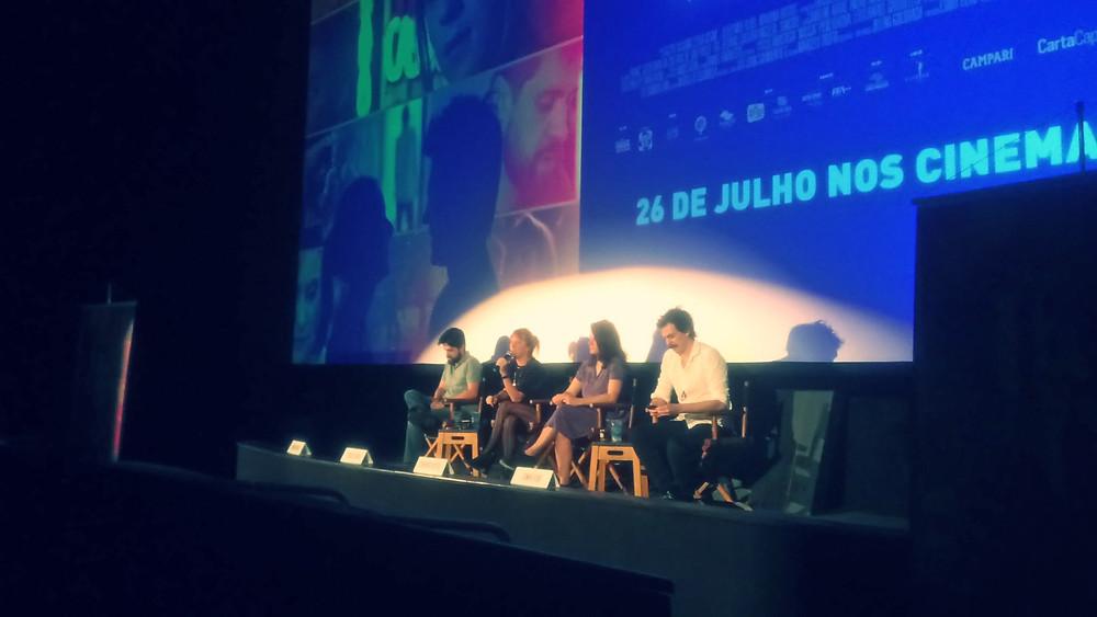 André Antunes, Caroline Abras, Mariana Bastos e Esmir Filho na coletiva de imprensa de Alguma Coisa Assim (2018)