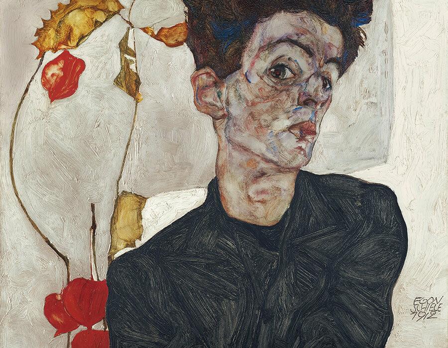 Auto-retrato (1912), do pintor expressionista austríacos Egon Schiele