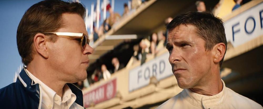 Matt Damon e Christian Bale em cena do filme Ford vs Ferrari (2019), de James Mangold | Foto: Divulgação