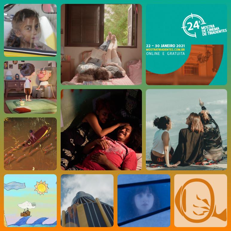 24ª Mostra Tiradentes: Mostrinha [imagens menores dos curtas O Menino e o Ovo (2020), Napo (2020), Mitos Indígenas em Travessia (2020), Vento Viajante (2020) e Foguete (2020) e do longa Passagem Secreta (2021)] e Mostra Jovem [imagens maiores dos curtas Letícia, Monte Bonito, 04 (2020), Traçados (2020) e Por Outras Primaveras (2020)] | Fotos: Divulgação