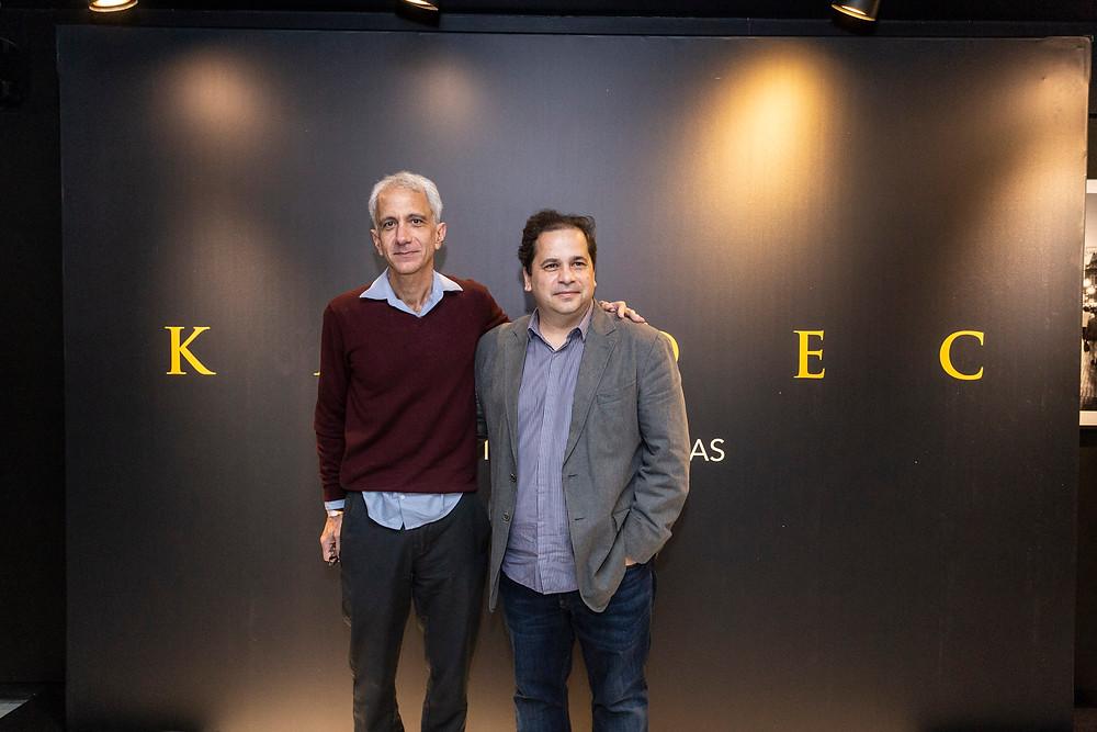 O escritor Marcel Souto Maior e o diretor Wagner de Assis durante a divulgação do filme Kardec (2019) na Expocine18   Foto: Divulgação