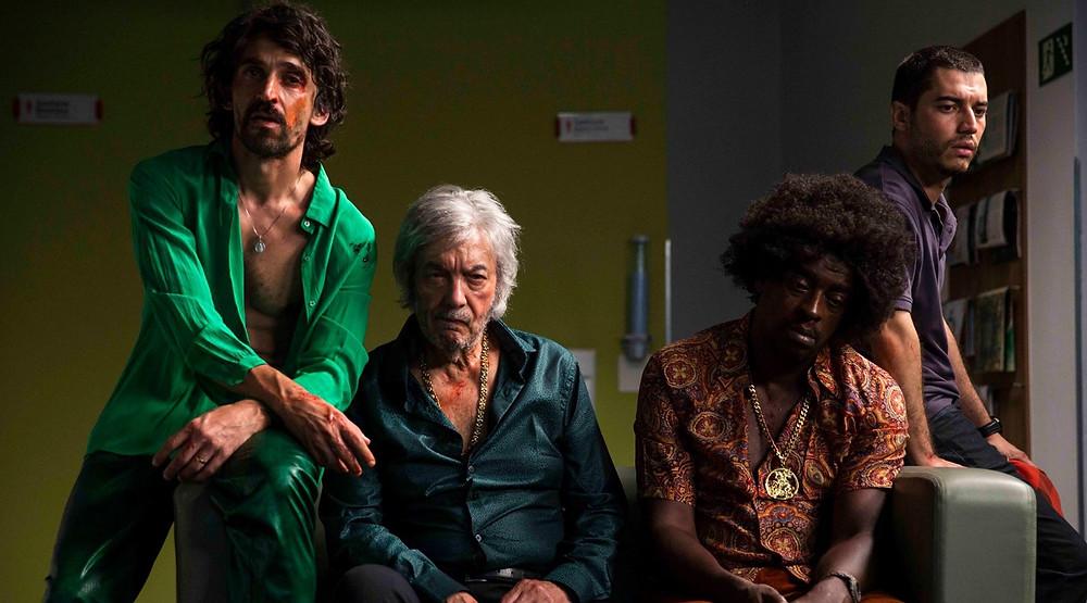 Júlio Andrade, Erasmo Carlos, Seu Jorge e Lee Taylor em cena do filme Paraíso Perdido (2018) | Foto: Divulgação (Vitrine Filmes)