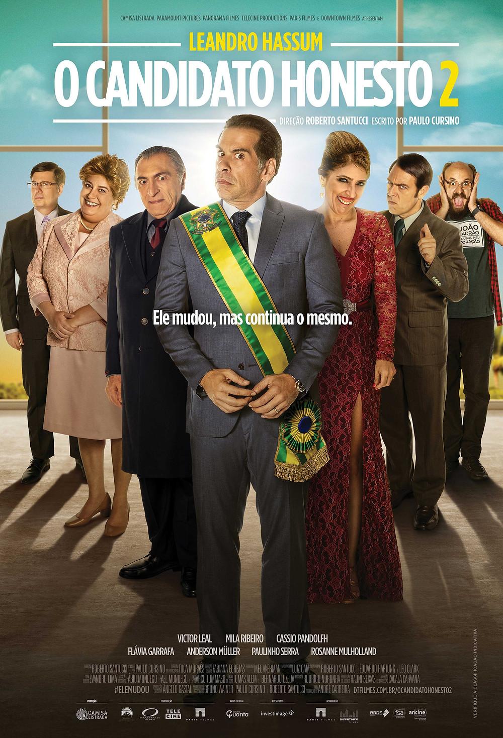 Cartaz da comédia nacional O Candidato Honesto 2 (2018) | Divulgação (Downtown Filmes / Paris Filmes)