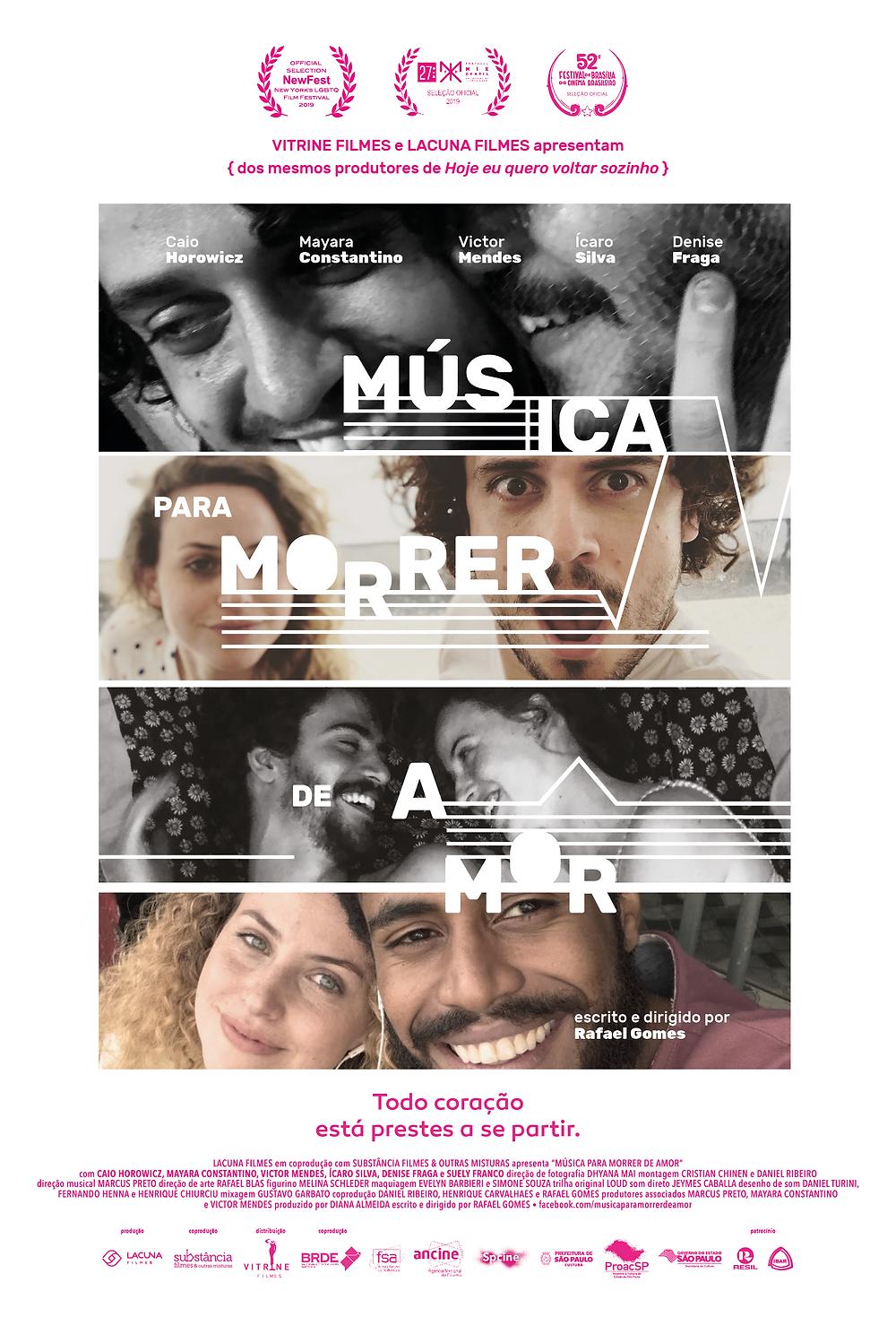 Cartaz do filme nacional Música para Morrer de Amor (2019), de Rafael Gomes | Divulgação (Lacuna Filmes / Vitrine Filmes)