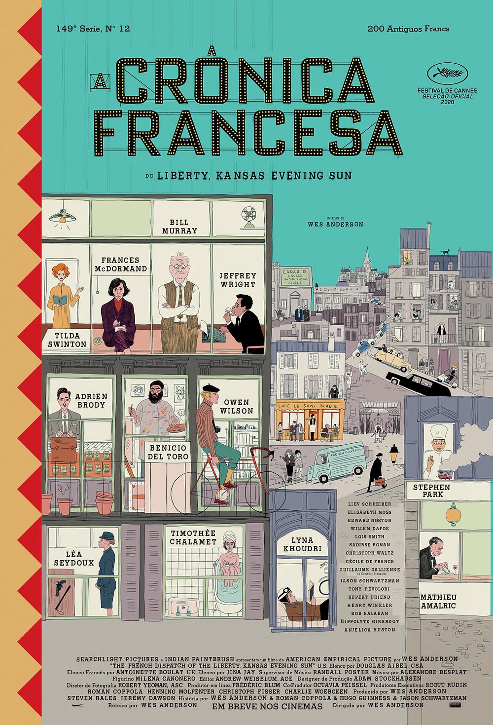 Cartaz de A Crônica Francesa (The French Dispatch, 2020), novo filme do cineasta Wes Anderson | Divulgação (The Walt Disney Studios)