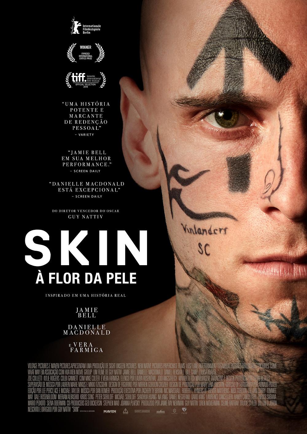 Cartaz do filme Skin – À Flor da Pele (2018) | Divulgação (Pagu Pictures)