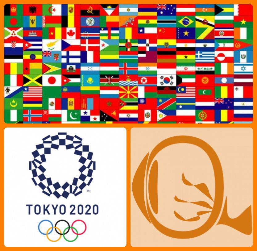 Montagem com as bandeiras de diversos países e os logos das Olimpíadas de Tóquio 2020 e do site NERVOS