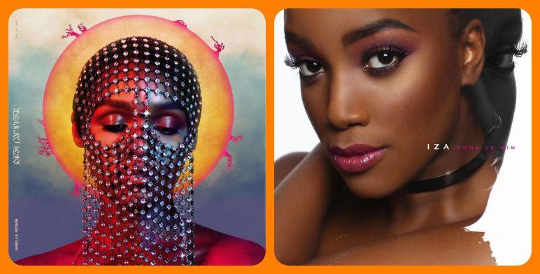 Capas dos álbuns Dirty Computer (2018), de Janelle Monáe, e Dona de Mim (2018), de IZA | Fotos: Divulgação