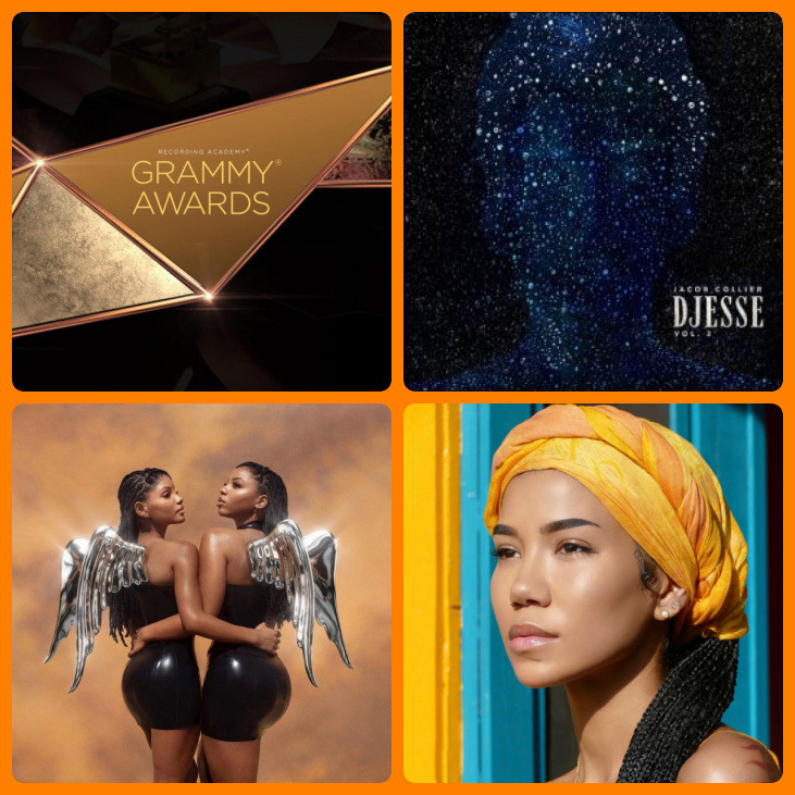 Especial Grammy 2021: os álbuns Djesse Vol. 3 (2020), do musicista Jacob Collier; Ungodly Hour (2020), do duo Chloe x Halle; e Chilombo (2020), da cantora Jhené Aiko | Fotos: Divulgação