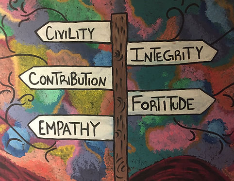 A hallway mural showing the Five Promises of civility, integrity, contribution, fortitude, and empathy.