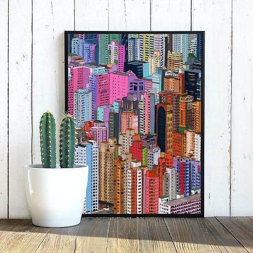 A2 Poster - Hong Kong Buildings
