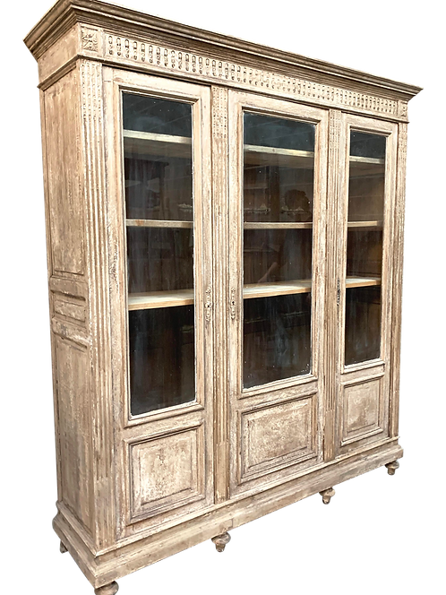 Antique White Painted and Distressed Tall French Bookcase Display Cabinet