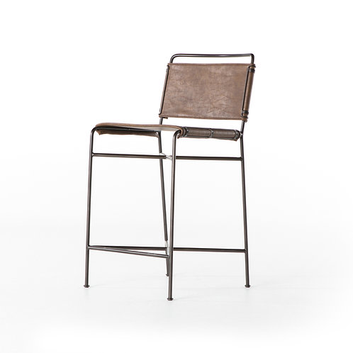 William Counter Stool-Distressed Brown