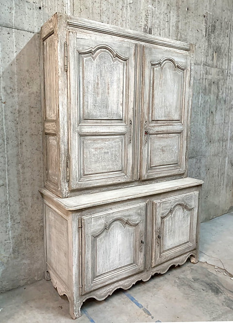 Antique White Gray Painted Double Buffet
