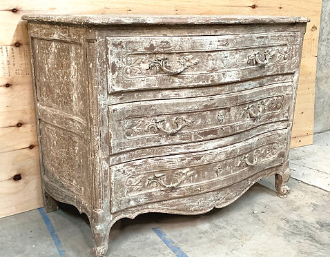 Vintage Off White Painted and Distressed Three Drawer Dresser