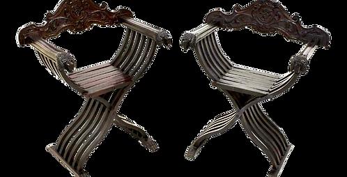 Italian Walnut Savonarola Curule Chairs With Loin Motif, a Pair