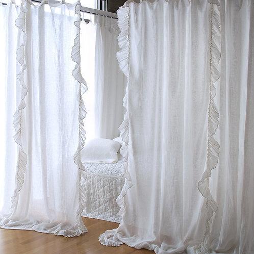 Linen Whisper Ruffled Curtain Panel (Single)